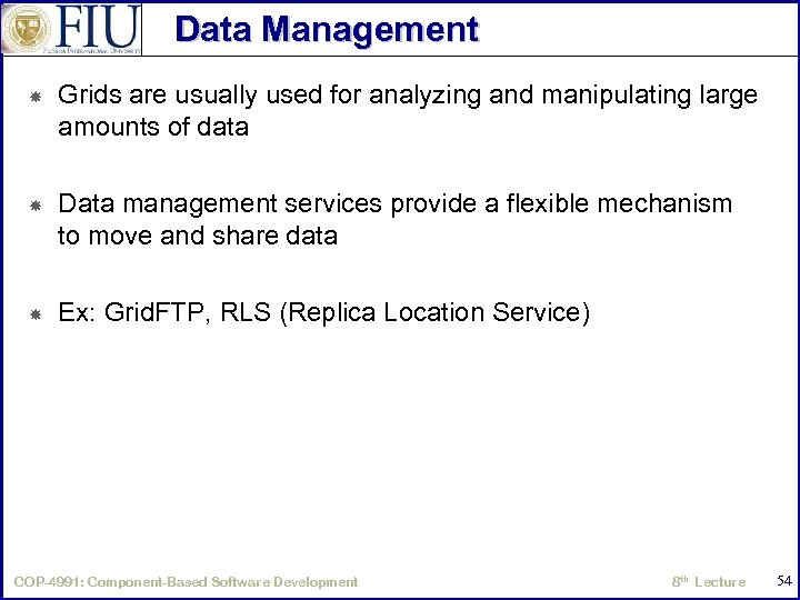 Data Management Grids are usually used for analyzing and manipulating large amounts of data