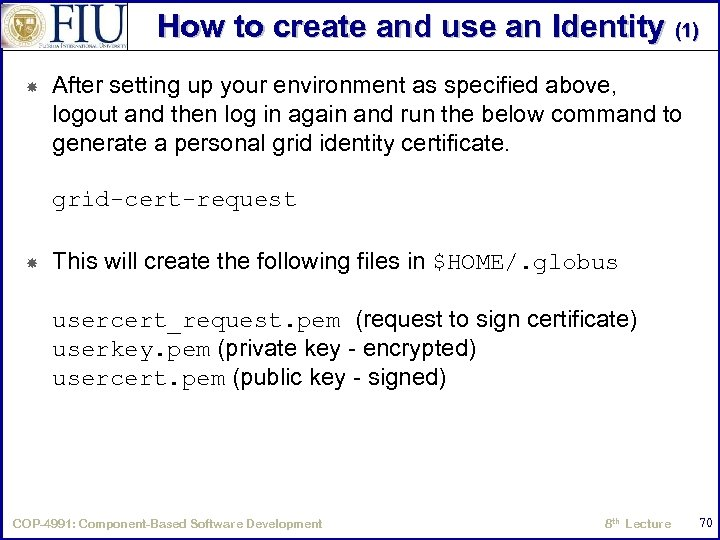 How to create and use an Identity (1) After setting up your environment as