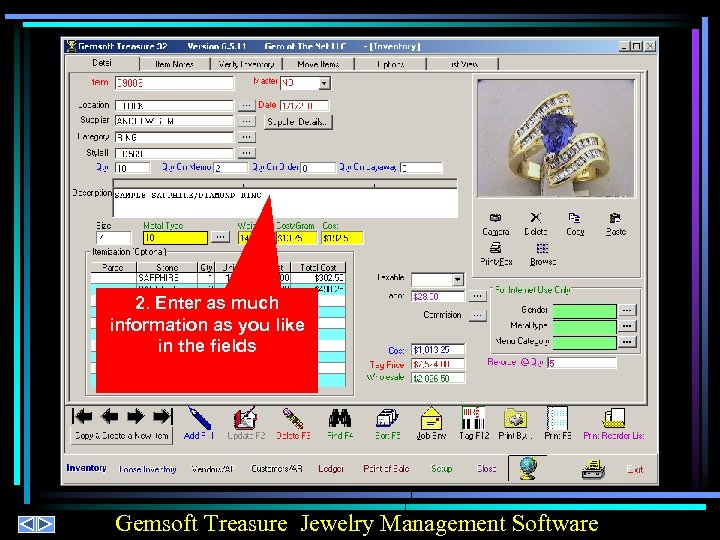2. Enter as much information as you like in the fields Gemsoft Treasure Jewelry