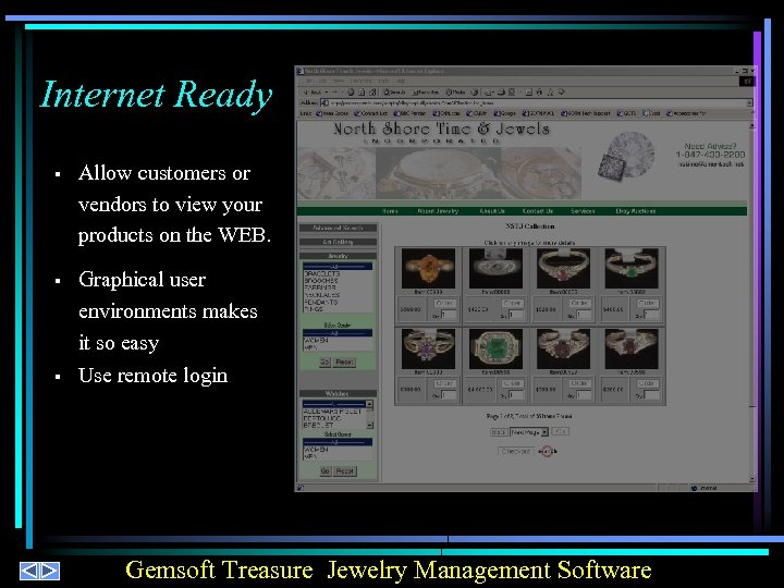 Internet Ready § Allow customers or vendors to view your products on the WEB.
