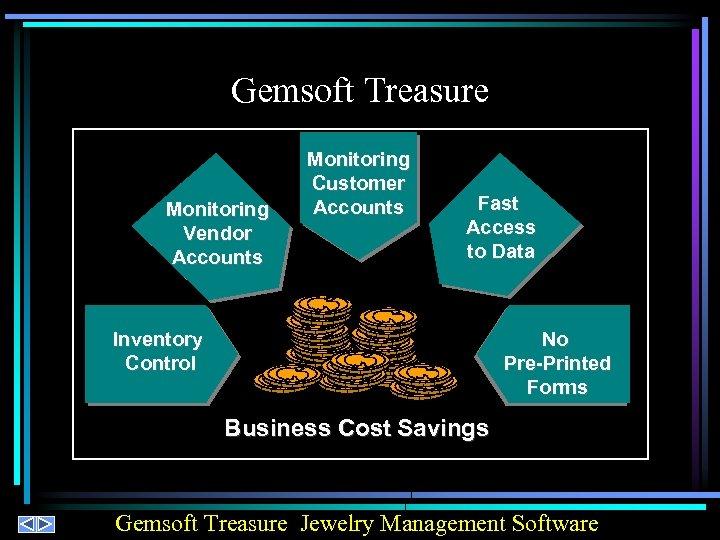Gemsoft Treasure Monitoring Vendor Accounts Monitoring Customer Accounts Fast Access to Data No Pre-Printed