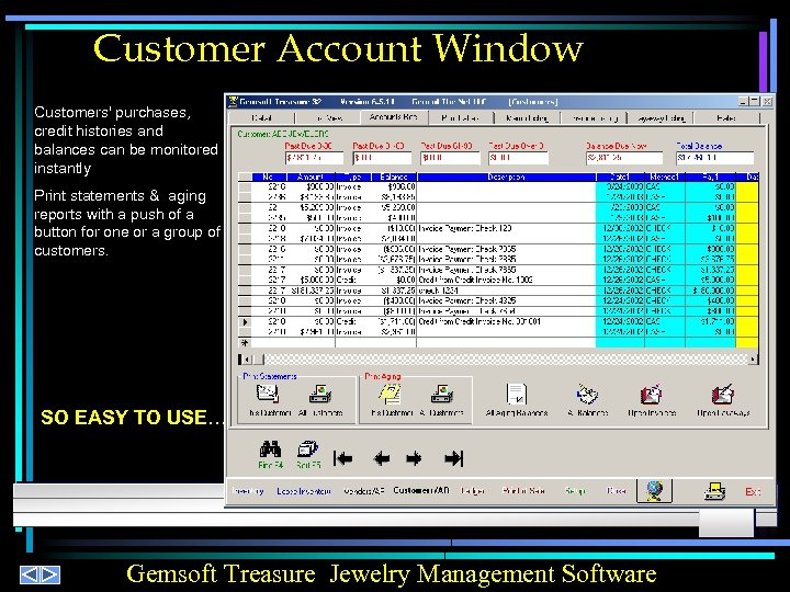 Customer Account Window Customers' purchases, credit histories and balances can be monitored instantly Print