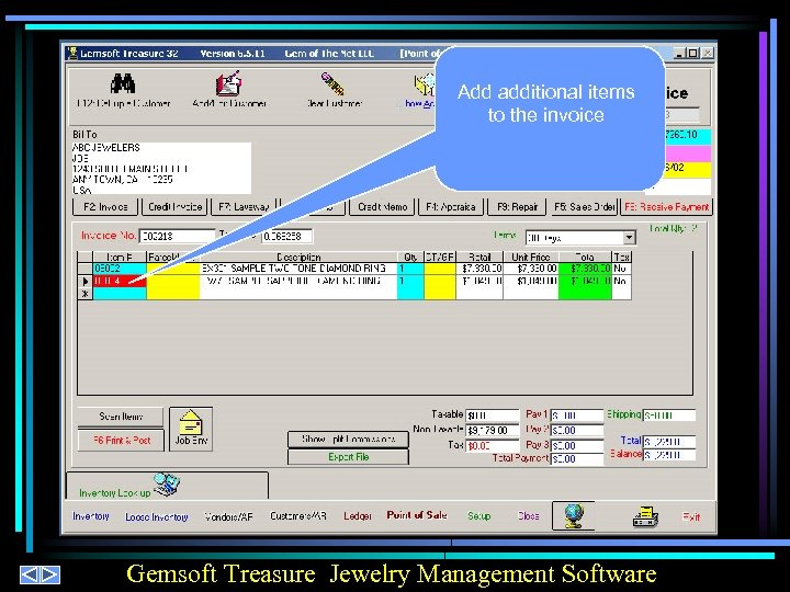 Add additional items to the invoice Gemsoft Treasure Jewelry Management Software