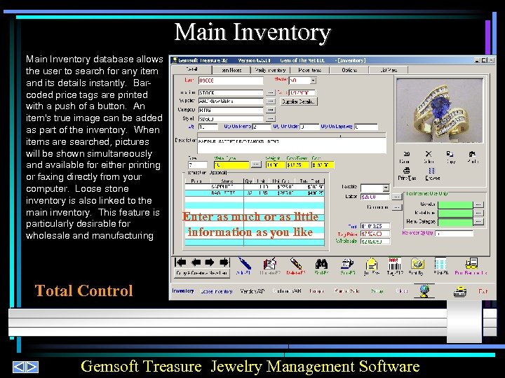 Main Inventory database allows the user to search for any item and its details