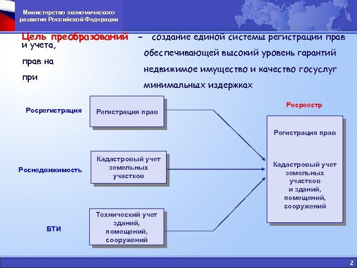 Министерство экономического развития Российской Федерации Цель преобразований - создание единой системы регистрации прав и
