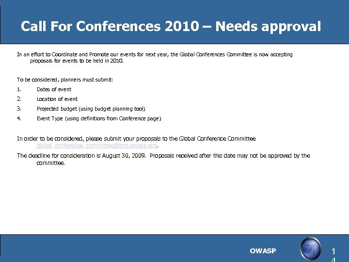 Call For Conferences 2010 – Needs approval In an effort to Coordinate and Promote