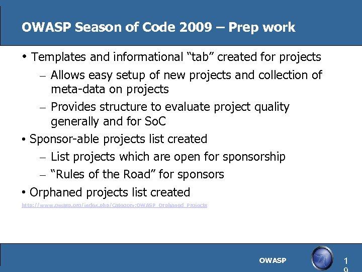 "OWASP Season of Code 2009 – Prep work • Templates and informational ""tab"" created"