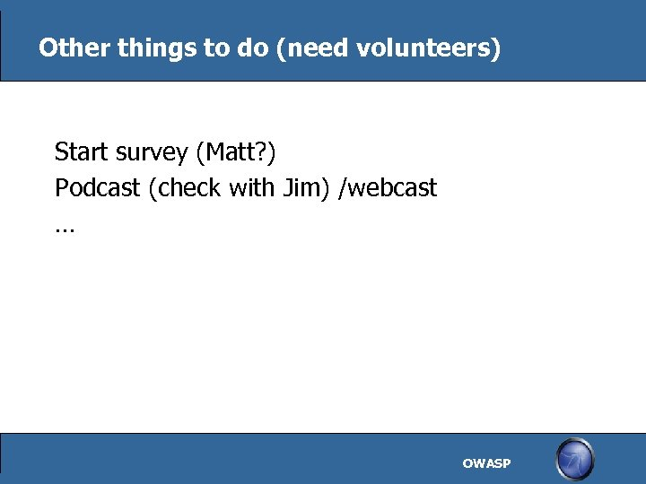 Other things to do (need volunteers) Start survey (Matt? ) Podcast (check with Jim)