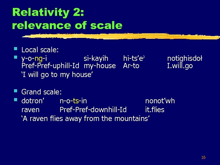 Relativity 2: relevance of scale § § Local scale: y-o-ng-i si-kayih Pref-uphill-Id my-house 'I