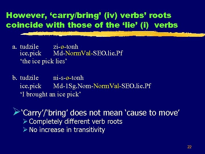 However, 'carry/bring' (iv) verbs' roots coincide with those of the 'lie' (i) verbs a.