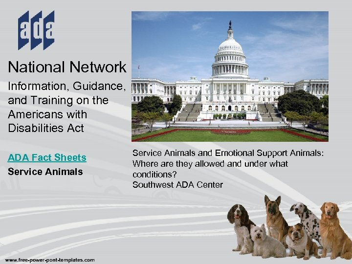 National Network Information, Guidance, and Training on the Americans with Disabilities Act ADA Fact
