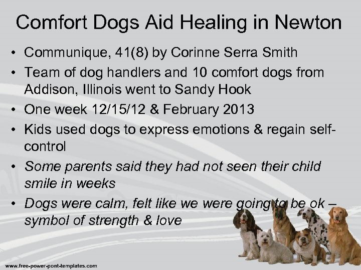 Comfort Dogs Aid Healing in Newton • Communique, 41(8) by Corinne Serra Smith •