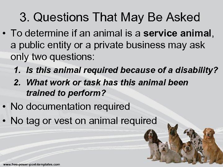 3. Questions That May Be Asked • To determine if an animal is a