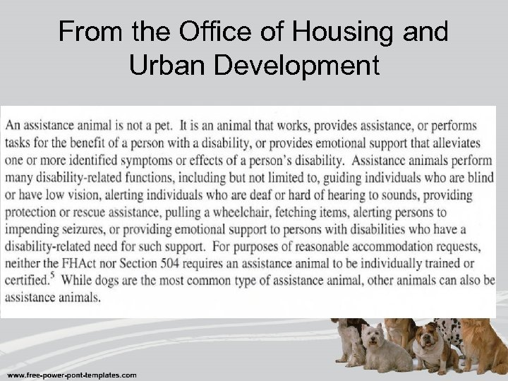 From the Office of Housing and Urban Development