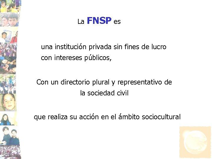 La FNSP es una institución privada sin fines de lucro con intereses públicos, Con