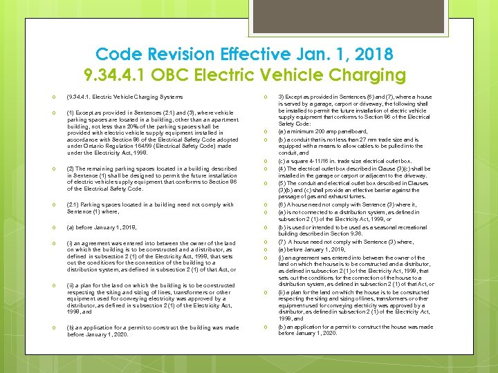 Code Revision Effective Jan. 1, 2018 9. 34. 4. 1 OBC Electric Vehicle Charging