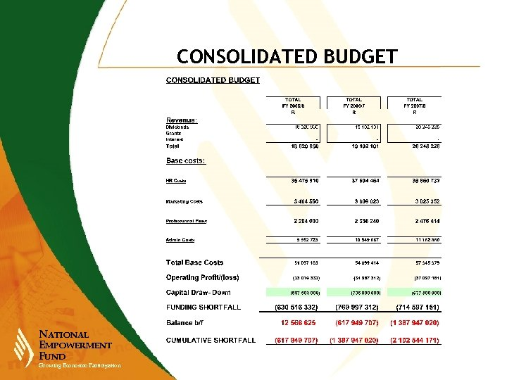 CONSOLIDATED BUDGET NATIONAL EMPOWERMENT FUND Growing Economic Participation
