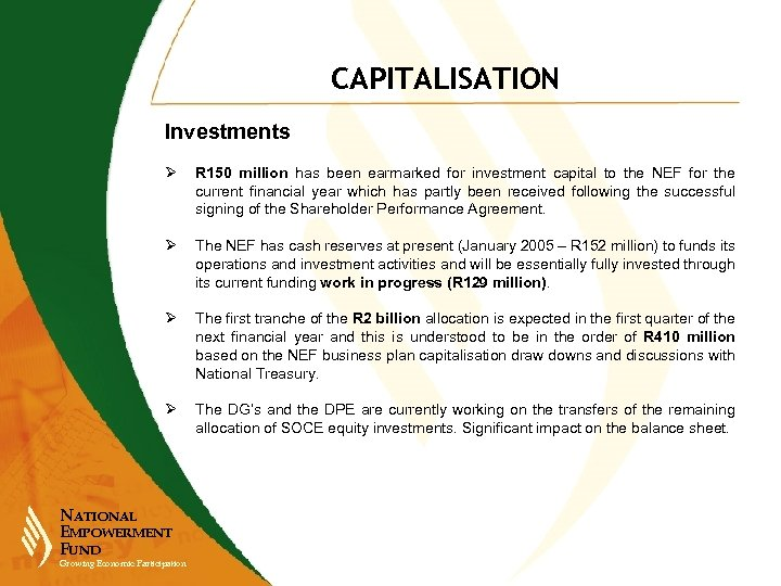 CAPITALISATION Investments Ø R 150 million has been earmarked for investment capital to the