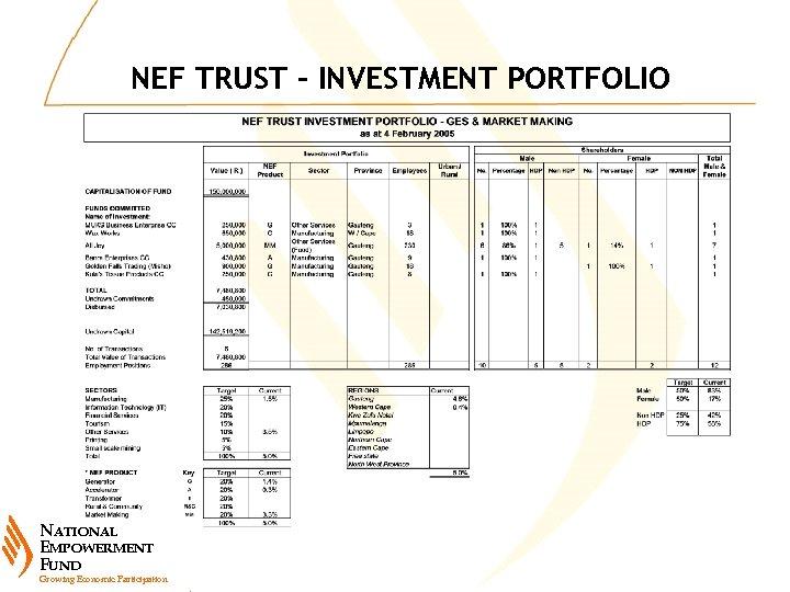 NEF TRUST – INVESTMENT PORTFOLIO NATIONAL EMPOWERMENT FUND Growing Economic Participation