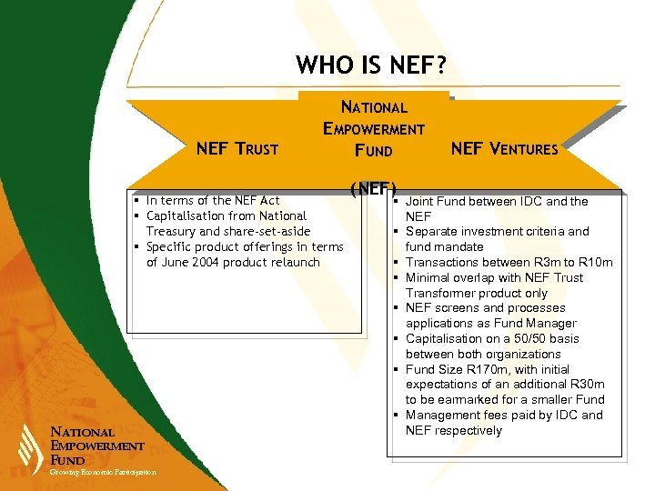 WHO IS NEF? NATIONAL NEF TRUST EMPOWERMENT FUND § In terms of the NEF