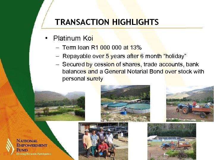TRANSACTION HIGHLIGHTS • Platinum Koi – Term loan R 1 000 at 13% –