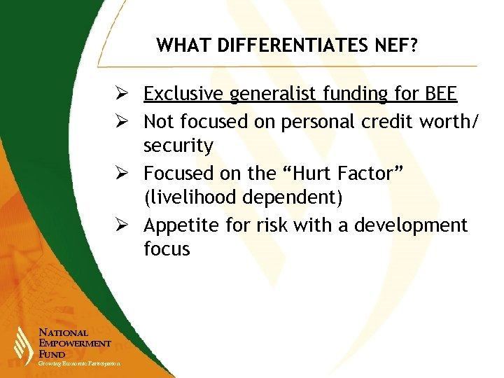 WHAT DIFFERENTIATES NEF? Ø Exclusive generalist funding for BEE Ø Not focused on personal