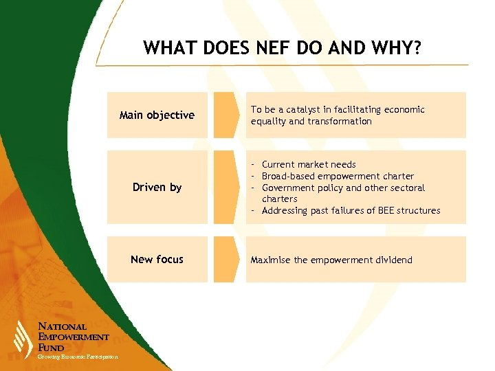 WHAT DOES NEF DO AND WHY? Main objective To be a catalyst in facilitating