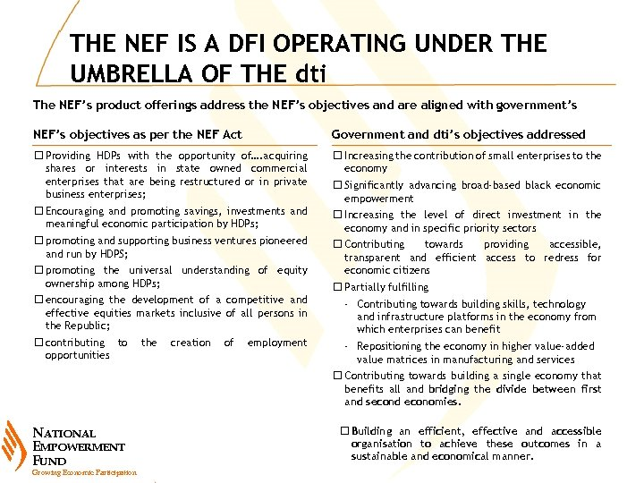THE NEF IS A DFI OPERATING UNDER THE UMBRELLA OF THE dti The NEF's