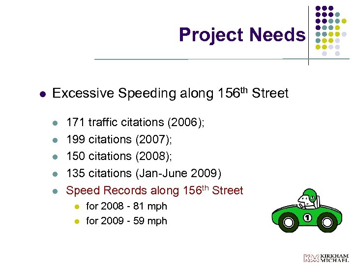 Project Needs l Excessive Speeding along 156 th Street l l l 171 traffic