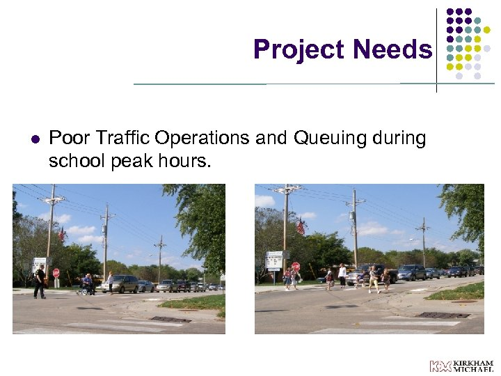 Project Needs l Poor Traffic Operations and Queuing during school peak hours.