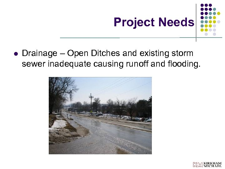Project Needs l Drainage – Open Ditches and existing storm sewer inadequate causing runoff