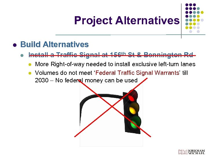 Project Alternatives l Build Alternatives l Install a Traffic Signal at 156 th St