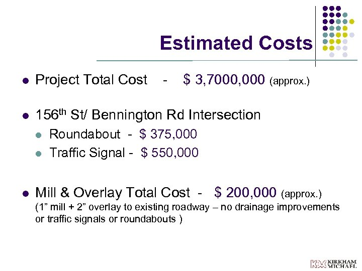 Estimated Costs l Project Total Cost l 156 th St/ Bennington Rd Intersection l