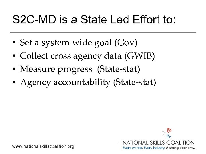 S 2 C-MD is a State Led Effort to: • • Set a system