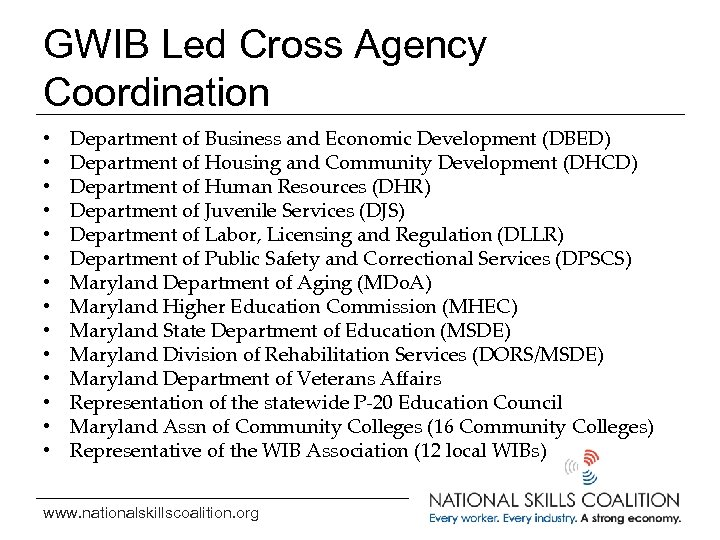 GWIB Led Cross Agency Coordination • • • • Department of Business and Economic