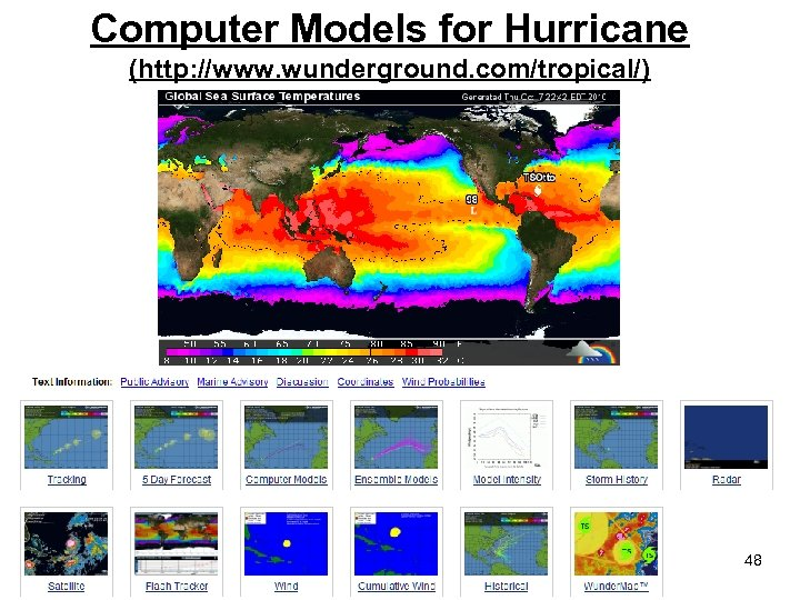 Computer Models for Hurricane (http: //www. wunderground. com/tropical/) 48