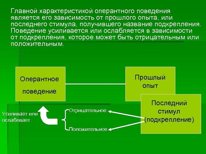 Главной характеристикой оперантного поведения является его зависимость от прошлого опыта, или последнего стимула, получившего