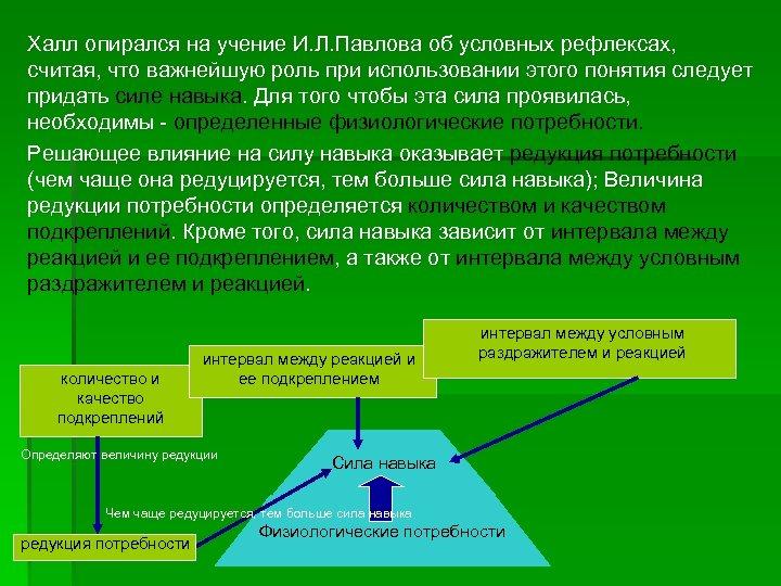 Халл опирался на учение И. Л. Павлова об условных рефлексах, считая, что важнейшую роль
