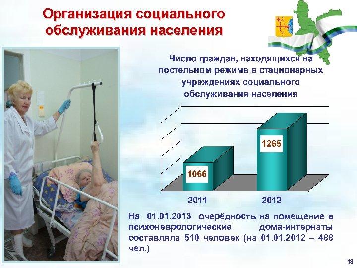 Организация социального обслуживания населения На 01. 2013 очерёдность на помещение в психоневрологические дома-интернаты составляла