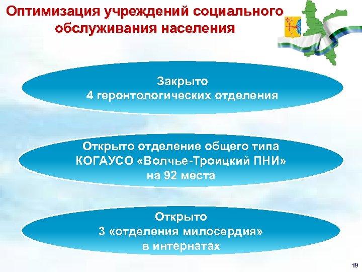 Оптимизация учреждений социального обслуживания населения Закрыто 4 геронтологических отделения Открыто отделение общего типа КОГАУСО