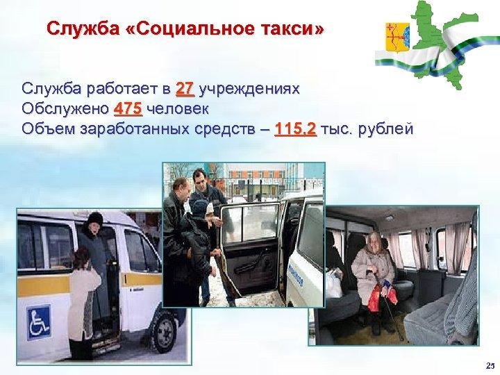 Служба «Социальное такси» Служба работает в 27 учреждениях Обслужено 475 человек Объем заработанных средств