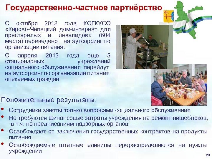 Государственно-частное партнёрство С октября 2012 года КОГКУСО «Кирово-Чепецкий дом-интернат для престарелых и инвалидов» (604