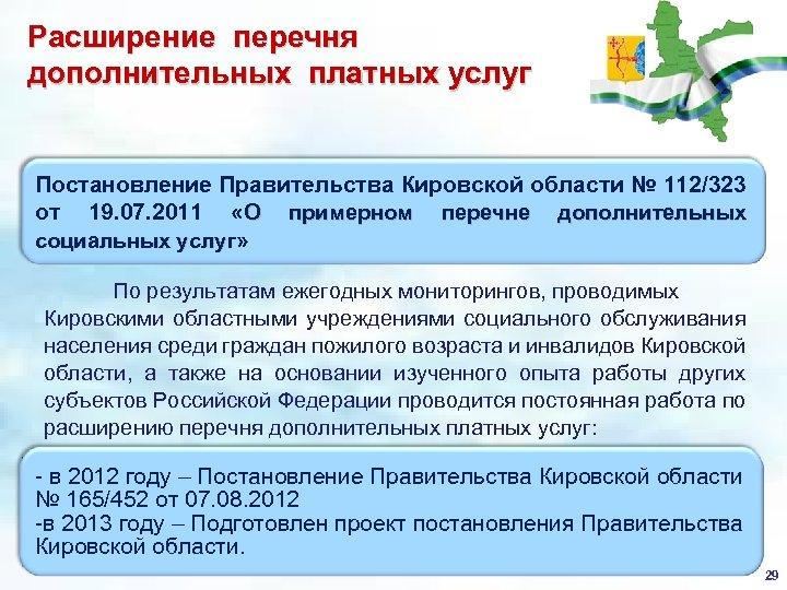 Расширение перечня дополнительных платных услуг Постановление Правительства Кировской области № 112/323 от 19. 07.