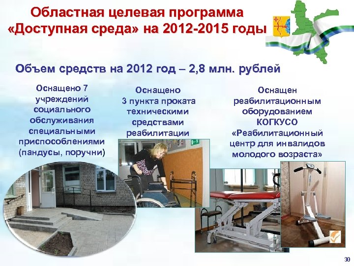 Областная целевая программа «Доступная среда» на 2012 -2015 годы Объем средств на 2012 год
