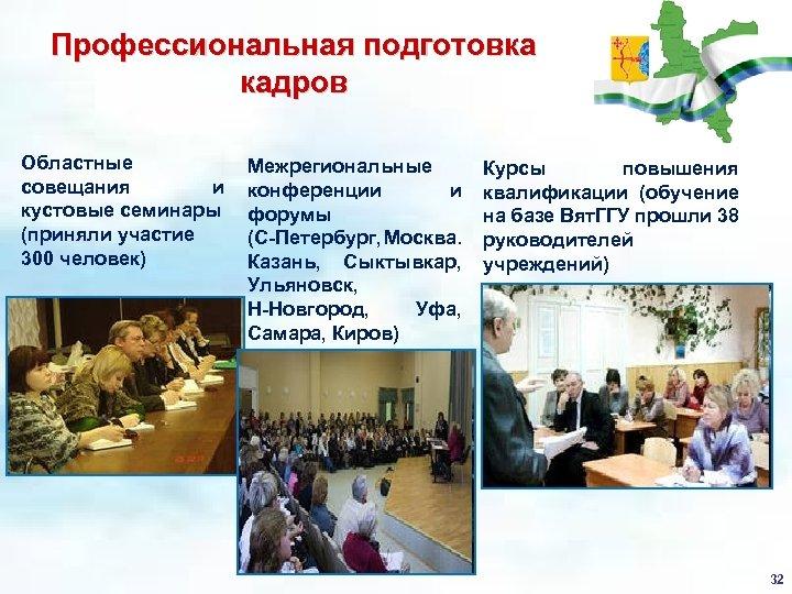 Профессиональная подготовка кадров Областные совещания и кустовые семинары (приняли участие 300 человек) Межрегиональные конференции