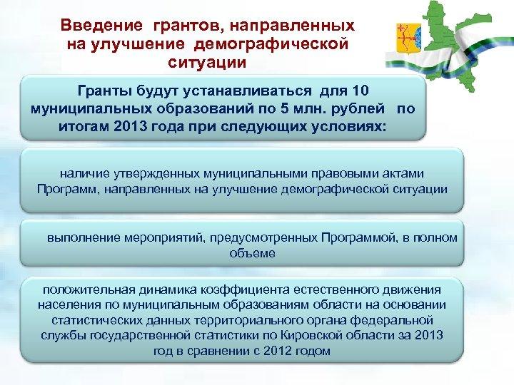 Введение грантов, направленных на улучшение демографической ситуации Гранты будут устанавливаться для 10 муниципальных образований