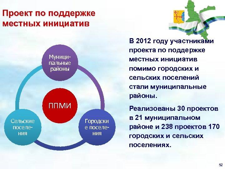 Проект по поддержке местных инициатив В 2012 году участниками проекта по поддержке местных инициатив