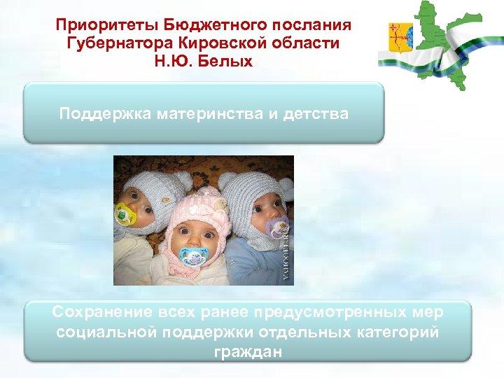 Приоритеты Бюджетного послания Губернатора Кировской области Н. Ю. Белых Поддержка материнства и детства Сохранение