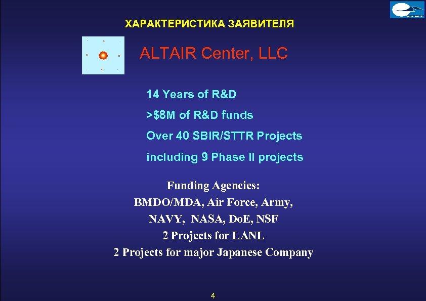 ХАРАКТЕРИСТИКА ЗАЯВИТЕЛЯ ALTAIR Center, LLC 14 Years of R&D >$8 M of R&D funds