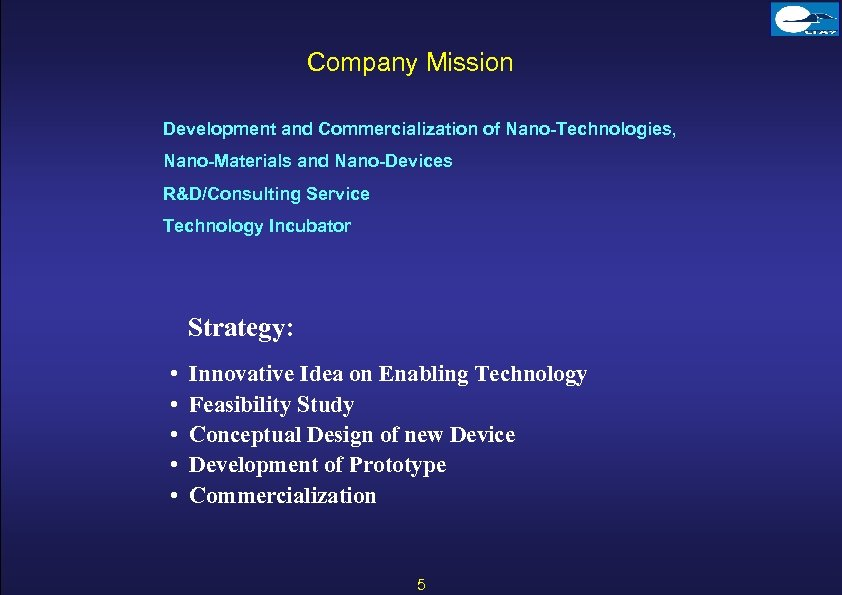 Company Mission Development and Commercialization of Nano-Technologies, Nano-Materials and Nano-Devices R&D/Consulting Service Technology Incubator